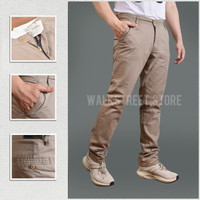 Celana Panjang Pria Chino Canvas Non Stretch Reguler Hitam Size 33-38 - Khaki, 29