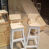 kursi sandaran minimalis bangku kayu jati belanda kaki cat putih duco
