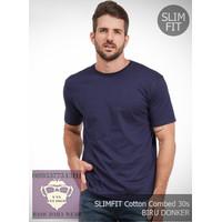 Kaos Polos Pria Combed 30s SLIMFIT Tshirt Baju Oblong Biru Dongker - M