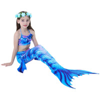 Baju Renang Kostum Mermaid Putri Duyung Anak Rainbow Biru MR23 - Size 140