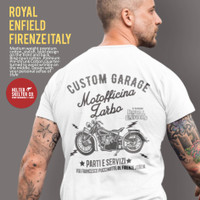 T-Shirt Kaos Royal Enfield Classic Custom Motor Firenze Italia White - L