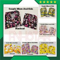 Set Piyama Couple Mom and Kids 1-9th Free Celana Pendek Anak Motif