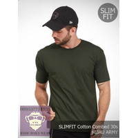 Baju Kaos Polos Casual Oneck Pria SLIMFIT Cotton Combed 30s Hijau Army
