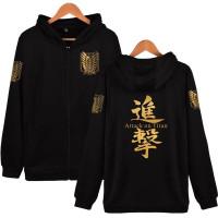Jaket Sweater Anime Attack On Titan Gold Logo Zipper Hoodie