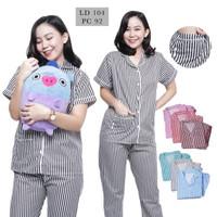 Baju Tidur Wanita / Piyama Wanita Motif Salur Lengan Pendek / SSS