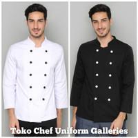 Baju Chef Seragam Baju Koki Lengan Panjang Hitam Premium Quality - Putih, S