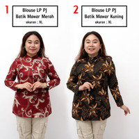 Atasan Batik Jumbo Wanita / Blus Panjang Jumbo / Baju Kerja Big Size - S, no. 1