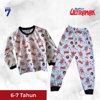 Baju Tidur Anak Ultraman Tangan Panjang & Sablon Depan Belakang Murah - 6-7 tahun