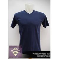Kaos Oblong Pria Baju Polos Shirt Cotton Combed 30s VNECK Biru Dongker