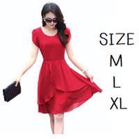 Gaun dress merah biru hitam pesta cewek wanita kondangan imlek sincia