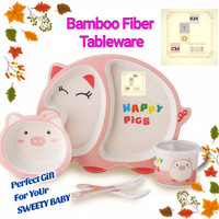 Bamboo Fiber Tableware Feeding set Perlengkapan makan anakTipe A