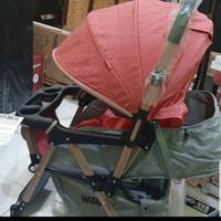 Stoller Bayi Original Wonfus Kereta Dorong Merah Muda
