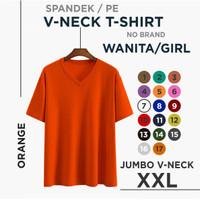 Kaos wanita Vneck JUMBO fit to XXL Atasan wanita kaos big size2 - Orange, XXL