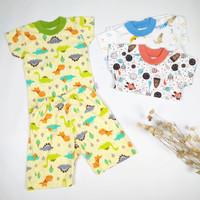 Setelan Baju Pendek Anak Bayi Celana 3/4 Little Q 3stel