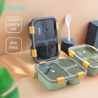 ecentio 850ml Kotak Makan 3 Grid Dengan Kotak Sup Bawalah sendok