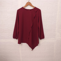 atasan wanita blouse kerja merah putih