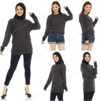 Outer Baju Switer Sweater Crewneck Rajut Cewek Wanita Original Terbaru - Abu-abu, M