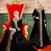 abaya bordir Gamis dress muslim hitam