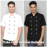 Baju Chef Seragam Koki Lengan Pendek Hitam Premium Quality