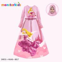 Gamis Aurora Anak Perempuan 5 - 13 Tahun . Baju Muslim Karakter KM-32G