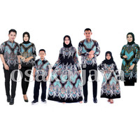 Baju Batik sarimbit keluarga motif madu biru - anak cewek, S