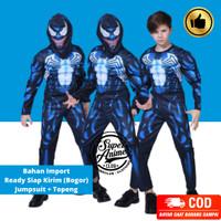 Kostum Superhero Anak Venom Otot Busa Impor Baju Ultah Spider Hitam
