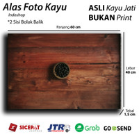Alas Foto Kayu asli / wooden background & backdrop olshop - Red Teak