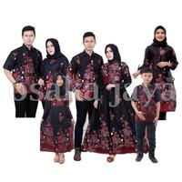 Baju batik keluarga sarimbit motif sakura merah - kemeja panjang, M