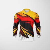 Baju Kaos Jersey Sepeda Motocross Trail Lengan Panjang Dewasa KUNING