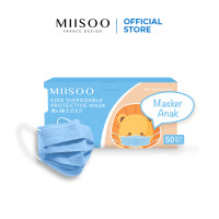 MIISOO Disposable Masker Anak wajah 50pcs Masker Kesehatan 3ply