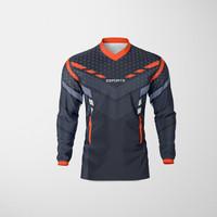 Baju Kaos Jersey Sepeda Motocross Trail Lengan Panjang Dewasa OREN