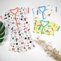 PERPASANG Baju Bayi bayi Anak Little Q Setelan Celana Pendek kc depan