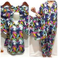 baju tidur piyama/pajamas wanita dewasa 3in1 daun fanta harga grosir - fanta daun