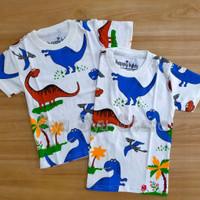 Baju Kaos Anak Laki Laki Cowok Dino Dinosaurus Putih Fullprint Color