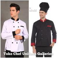 Baju Chef Seragam Baju Koki Lengan Panjang Kombinasi Premium Quality - Putih, S