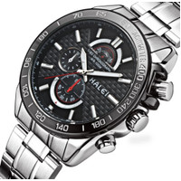 Jam tangan pria HALEI Original 3050 sport stainless steel water resist - silver black