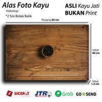 Alas Foto Kayu / wooden Background & Backdrop olshop food - Teak