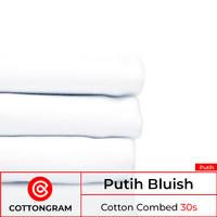 Kain kaos bahan kaos katun cotton comb 24s & 30s - wrn putih per meter
