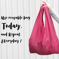 Tas Supermarket Baggu Bagcu Lipat Belanja Shopping Bag Jinjing