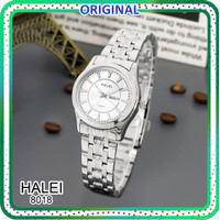 TERMURAH bisa COD Jam tangan wanita Original HALEI 8018 tanggal aktif - silver-white