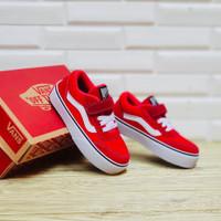 Sepatu anak perempuan dan laki laki Vans Velcro Red Size 26-30