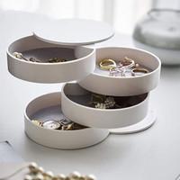 Kotak Penyimpanan Perhiasan Anting Anti Debu 4 Lapis Rotasi 360derajat