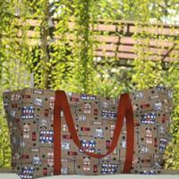 Tas Belanja Kanvas Besar / Tote Bag Kanvas Motif London Coklat