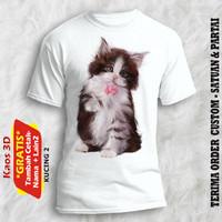 Kaos Gambar Kucing ukuran anak sampai dewasa kualitas cetak photo asli - Putih, 4-5 tahun