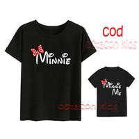 Set T-Shirt Couple Mom And Kids - Minnie bLACK - Bahan Katun Combed
