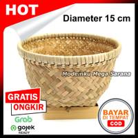 Rice Bowl Wakul Nasi Ceting Bakul Tempat Nasi Anyaman Bambu - D15 cm