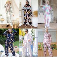 baju one set tie dye rayon viscose wanita muslim dewasa kekinian murah