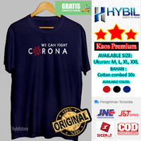 Kaos Distro Pria Lengan Pendek Bersama Lawan Corona Combed 30s Premium - Hitam, M