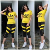 Setelan Baju Senam Zumba Olahraga Sport Wanita Legging 3/4 Adidas