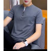Baju Kaos Pria Victory Abu Bahan Cotton Combed Lengan Pendek Terbaru